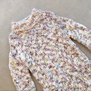 H&M Multicolor Chunky Knit Funnel Long Sweater